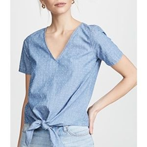 Madewell Chambray Novel Tie-Front Top